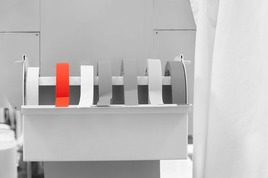 Rolls of labeling tape in laboratory