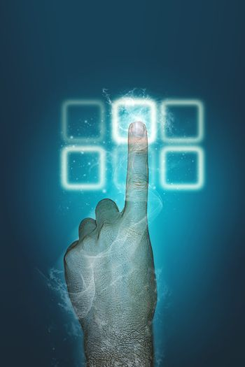 Index finger using a touch screen keypad