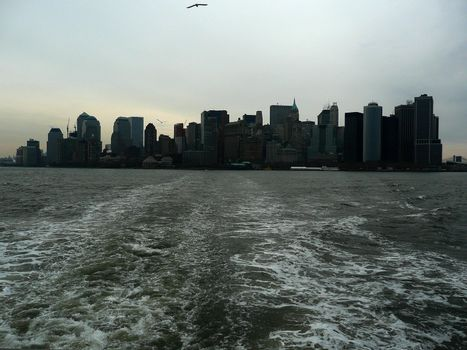 Lower Manhattan seen from the bay, New York, USA