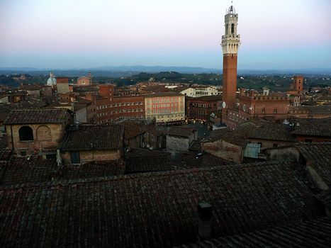 Aerial View of the city centre, Siena, Italy