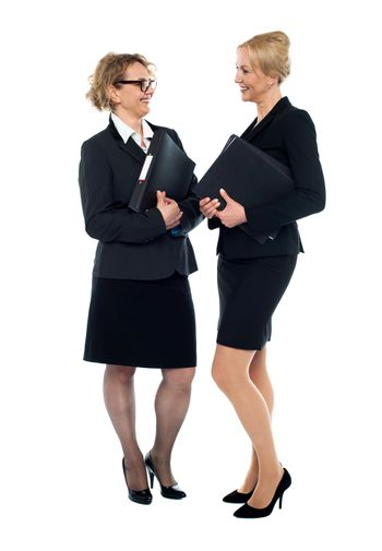 Corporate women interacting with each other