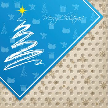 Christma greeting with coniferous elements