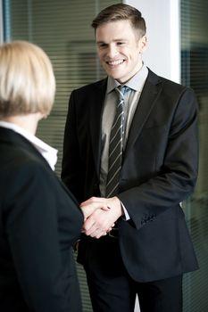 Partners giving a handshake