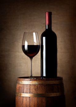 Wine on a barrel