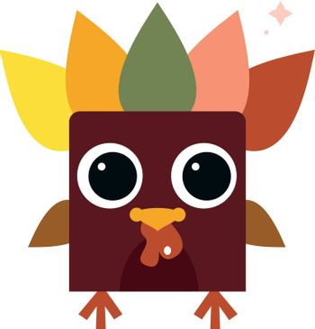 Funny colorful retro Turkey. Vector Illustration