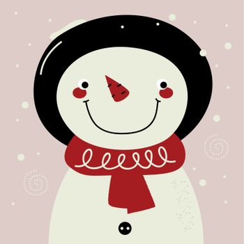 Happy Snowman in retro style. Vector Illustration