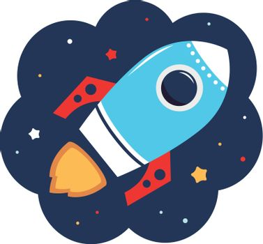 Beautiful cartoon Rocket in space. Vector Illustration