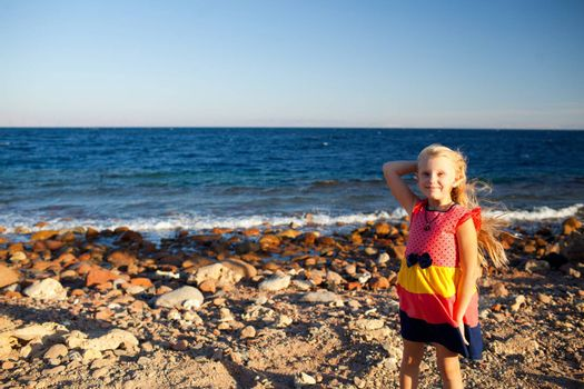 portrait of small girl on the beach