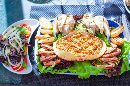 Seafood on the plate. Prepared Shellfish.