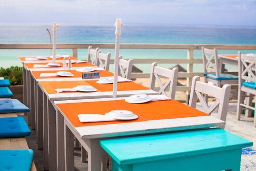 Outdoor cafe on the beach in Atlantic coast