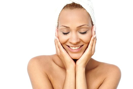 Beautiful spa woman with closed eyes