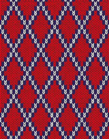 Knit woolen seamless jacquard ornament texture. Fabric Red White Blue color tracery background