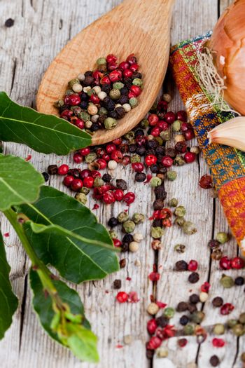 peppercorns and bay leaves