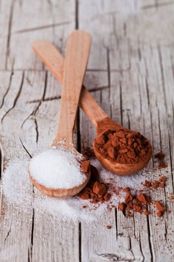 sugar and cocoa powder in spoons