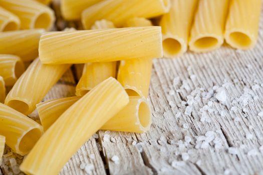 raw pasta and salt