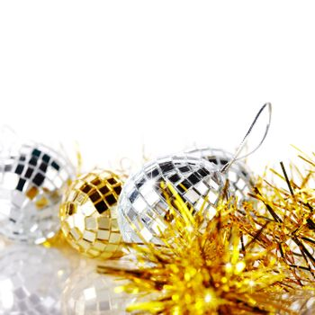 New Year's tinsel and New Year's balls.