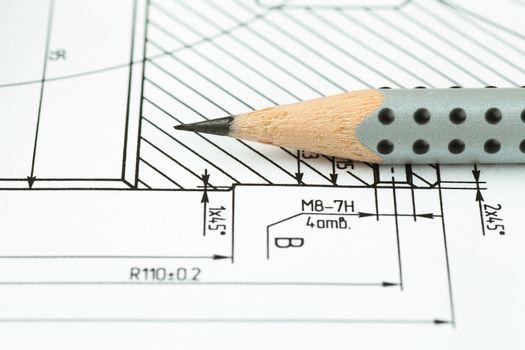 Closeup view of pencil on a graphic drawing