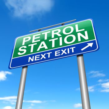 Illustration depicting a sign with a petrol station concept.
