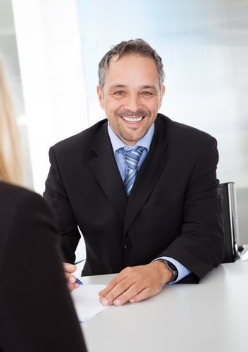 Successful businessman at the interview