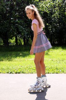 Woman enjoying roller skating rollerblading