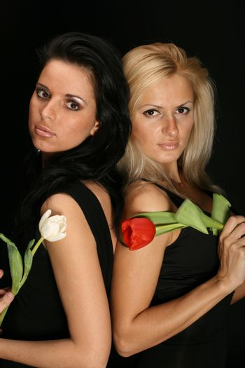 blond and brunette red white flowers on black