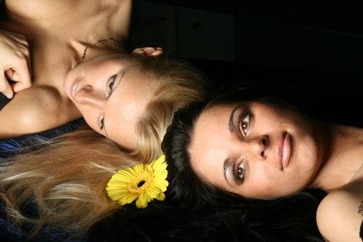 blond and brunette