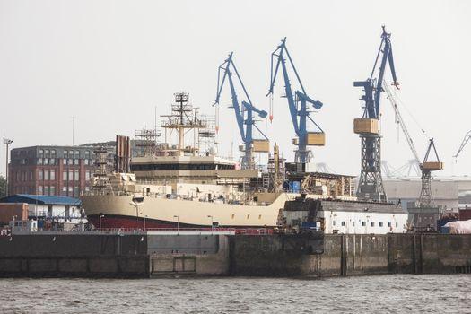 Huge ship in docks at Hamburg Harbor