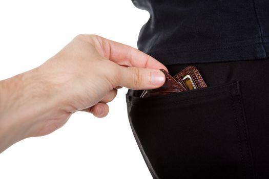 Pickpocket stealing a mans wallet