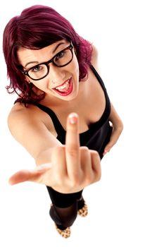 Female model showing middle finger