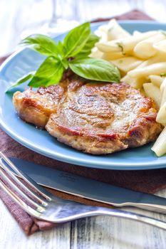 Pasta and steak