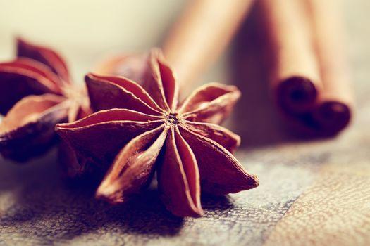 Star anise with cinnamon sticks