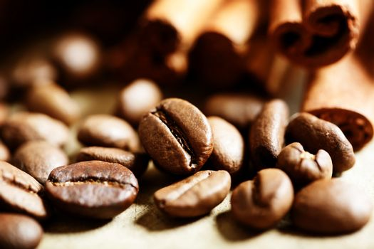 Coffee beans with cinnamon sticks