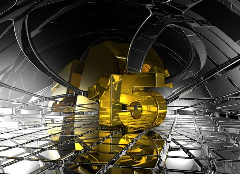 number fifteen in abstract futuristic space - 3d illustration
