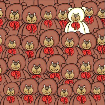 fully editable vector illustration with seamless bears