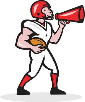 American Football Quarterback Bullhorn Isolated Cartoon