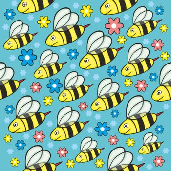 fully editable vector illustration with seamless honey bees