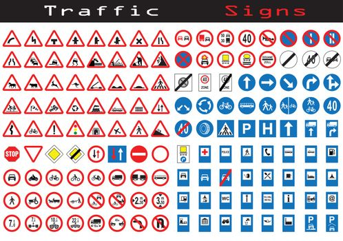 Traffic sign collection of 144 symbols
