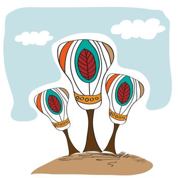 stylized vector trees