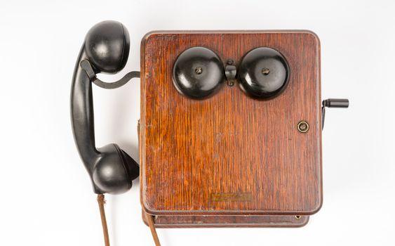 Vintage Obsolete Oak Telephone Set Bakelite Handset Wallbox Ring