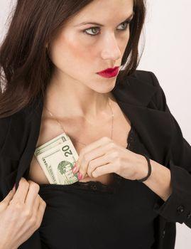 Woman Wearing Black Stuffs Twenties Bills Money Cash Bra