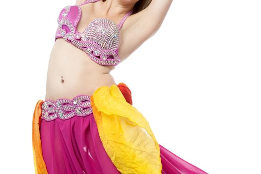 Belly dancer performing, Arabic tradition.