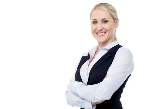 Portrait of charming young business lady