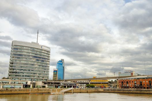 Waterfront view of Puerto Madero neighborhood in Buenos Aires, Argentina