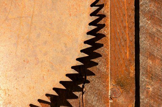 Rusted blade of an old circular saw