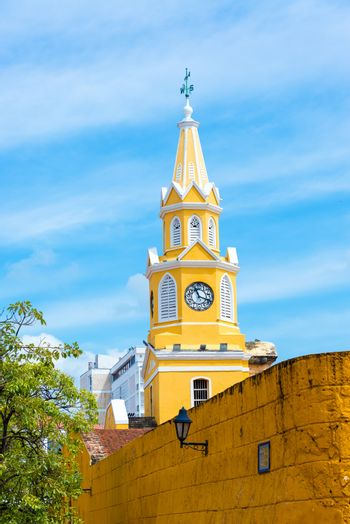 Historic clock tower marking the main entrance to the historic center of Cartagena, Colombia