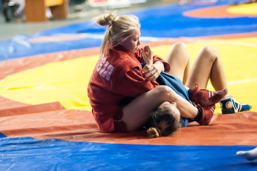 Sambo or Self-defense without weapons. Competitions girls.