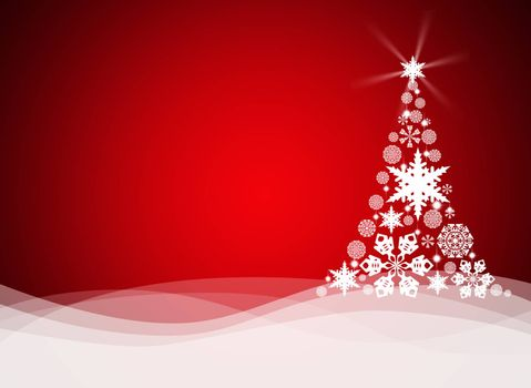 Christmas tree from white snowflakes on red background