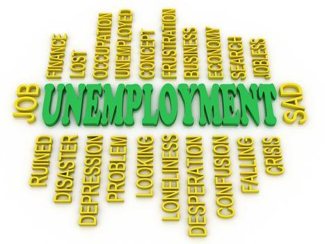 3d Unemployment message concept. Jobs crisis concept