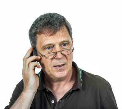 man using his mobile indoor