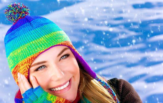 Happy woman in wintertime
